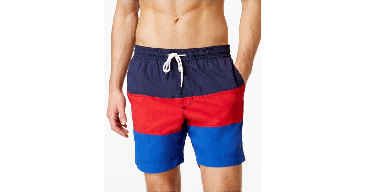 fda46722991ed Tommy Hilfiger Waterford Colorblocked Drawstring Swim Trunks in Blue for  Men - Lyst
