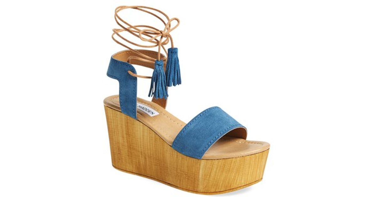 59c342fd6fc Lyst - Steve Madden Shannon Suede Wedge Sandals in Blue