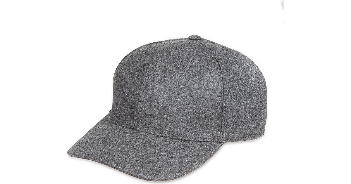 1ea498b85b9fd Brunello Cucinelli Wool Baseball Cap - For Men in Gray for Men - Lyst