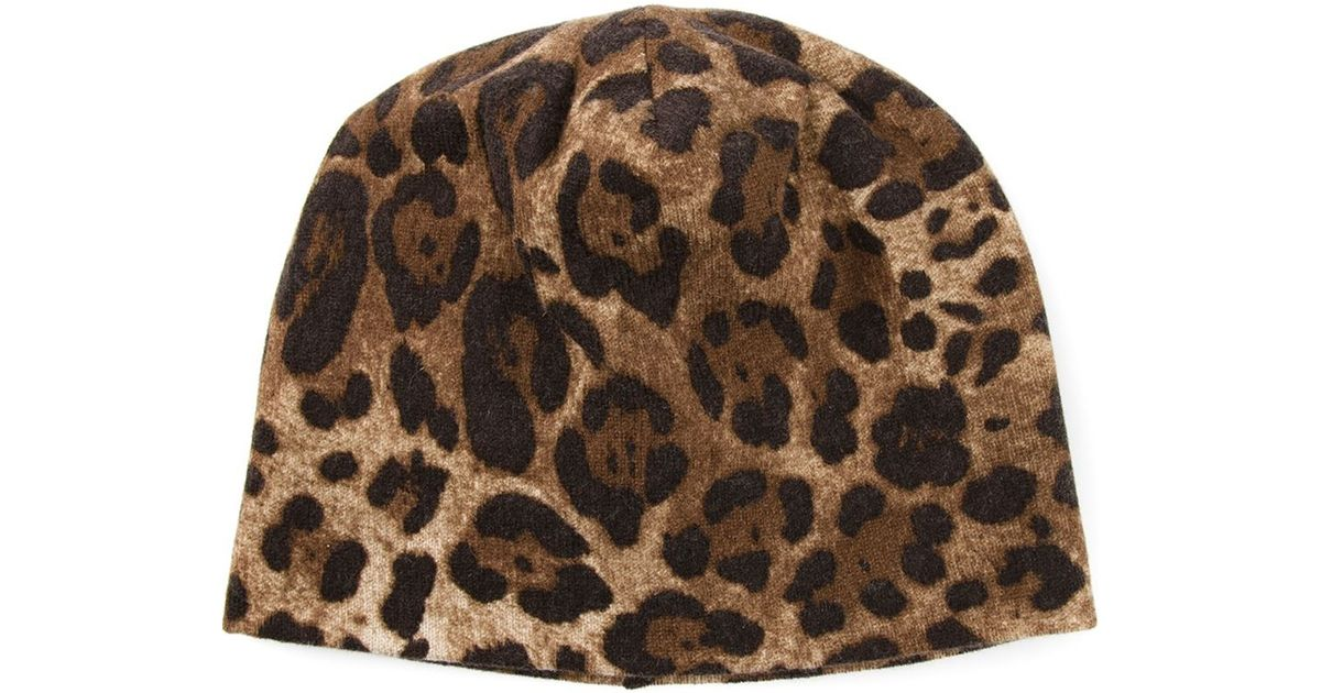 ab08f8464a9ac Dolce   Gabbana Leopard Print Beanie Hat in Brown - Lyst
