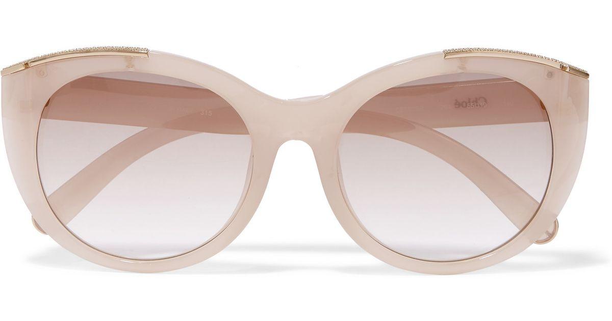 6260a387cfd Chloé Chloé Dallia Round-frame Swarovski Crystal-embellished Acetate  Sunglasses in Pink - Lyst