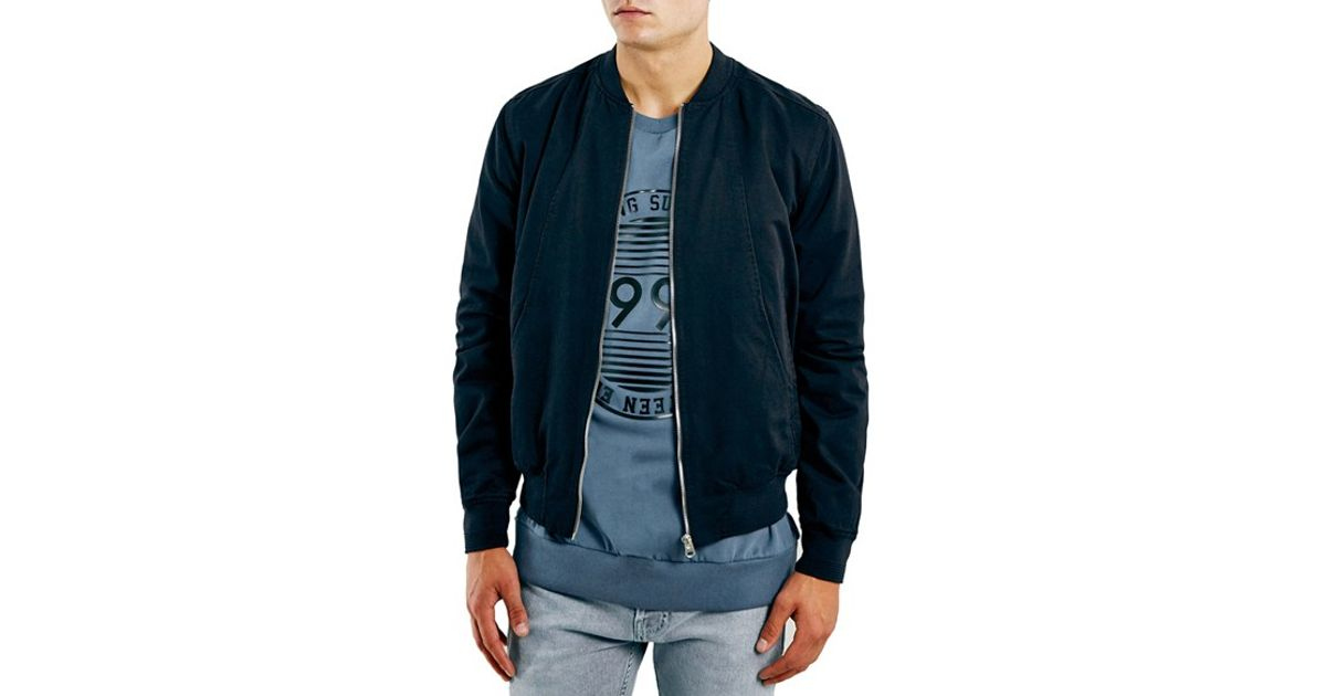 6ab04948ace8 Lyst - TOPMAN Navy Cotton Bomber Jacket in Blue for Men