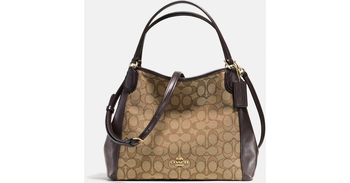b8236d050f ... netherlands lyst coach edie shoulder bag 28 in signature jacquard in  brown 81414 3392e