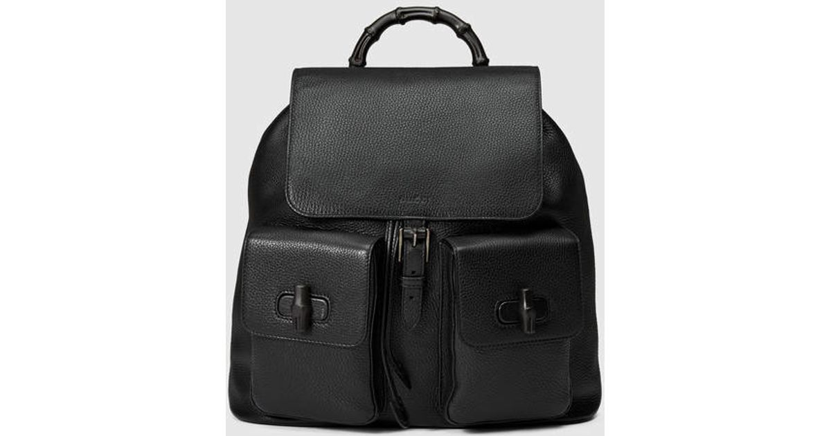 Lyst - Gucci Leather Backpack With Bamboo in Black for Men
