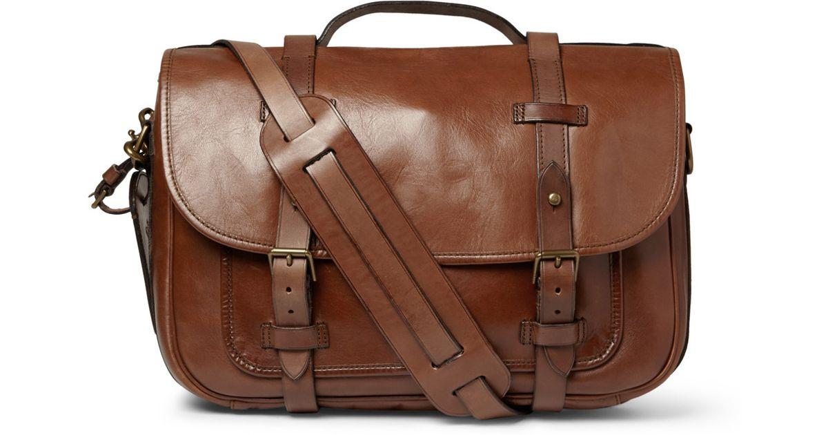 54907b28d4c5 ... sale lyst polo ralph lauren leather messenger bag in brown for men  c707e fa120