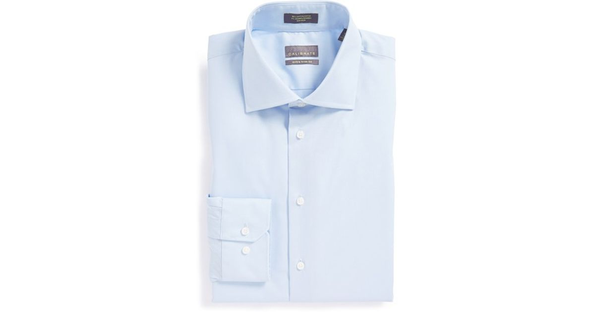 Calibrate extra trim fit non iron stretch dress shirt in for Best extra slim fit dress shirts