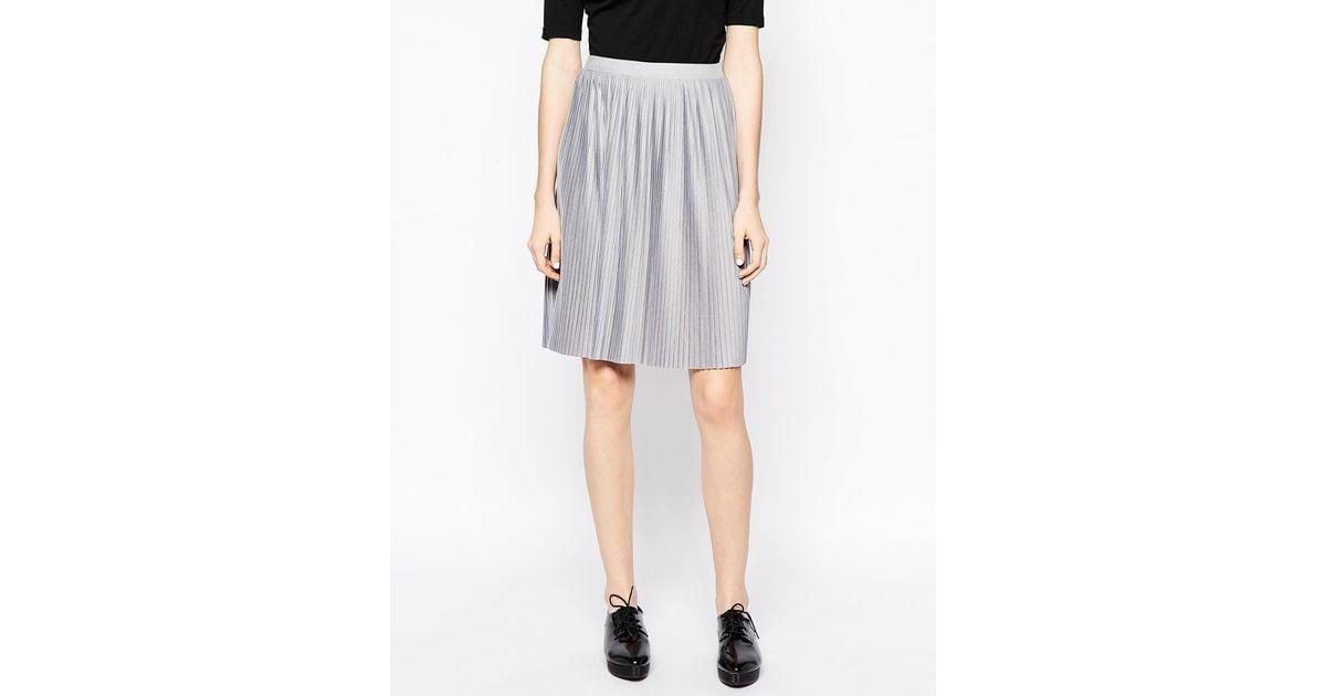 monki jersey pleated skirt in gray lyst