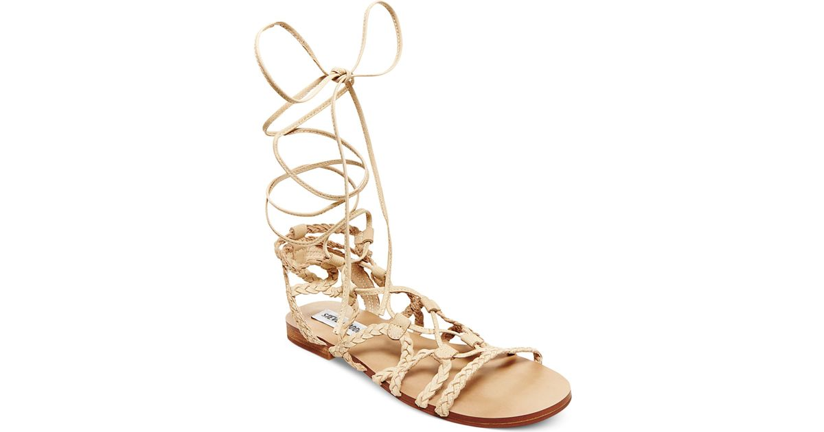 e42cdb747c9 Lyst - Steve Madden Women s Swyvel Lace-up Ankle-tie Gladiator Sandals in  Black