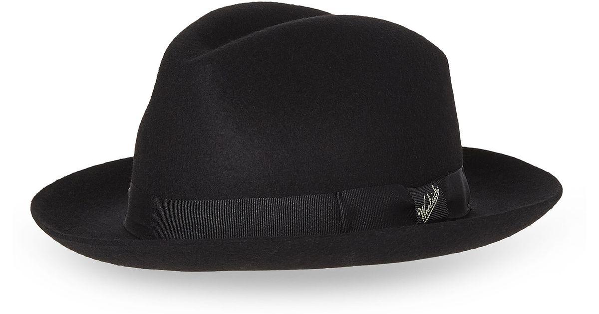 38c0cc51aa240 Lyst - Woolrich Wide Brim Fedora in Black for Men