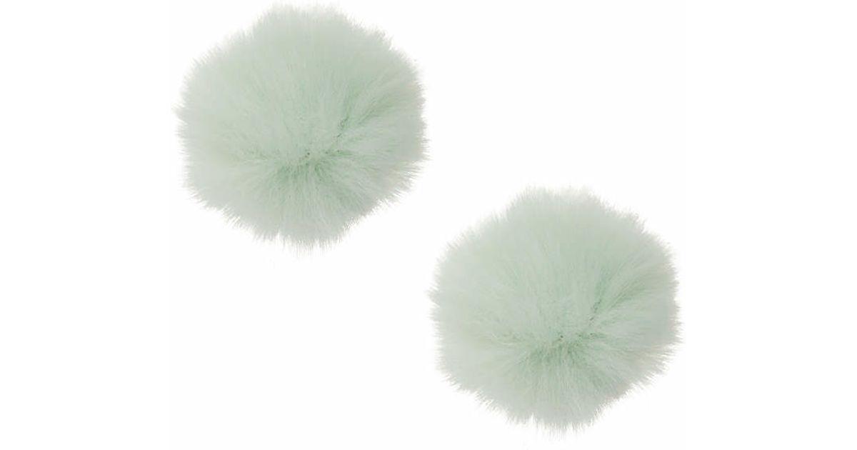 Lyst - Topshop Faux-fur Pom-pom Stud Earrings in Green