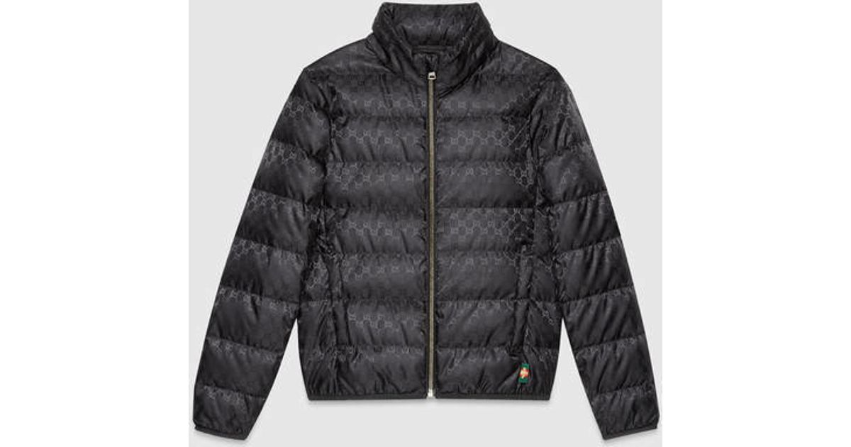 979f91f207d1 Lyst - Gucci Gg Jacquard Quilted Nylon Jacket in Black for Men