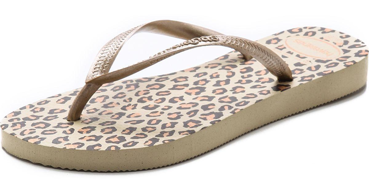 518a10b7c9c2 Havaianas Slim Leopard Flip Flops in Natural - Lyst