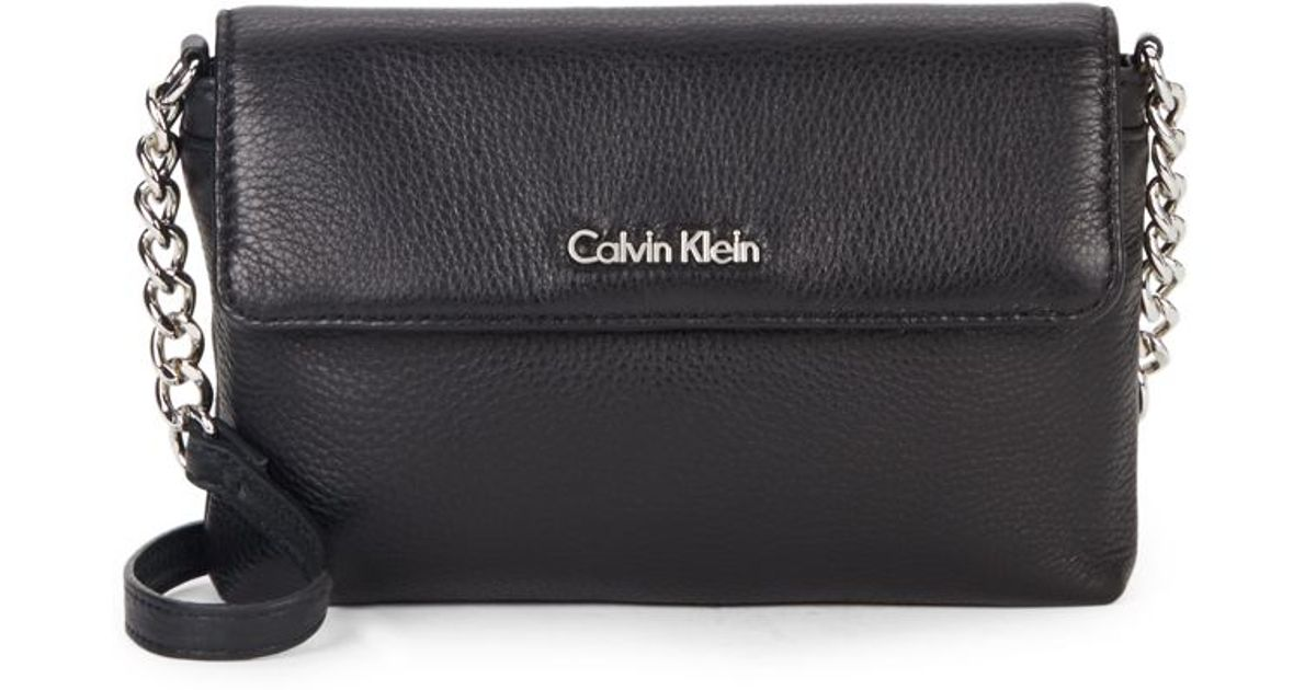 a7eec36407f1 Lyst - Calvin Klein Chain   Leather Crossbody Bag in Black