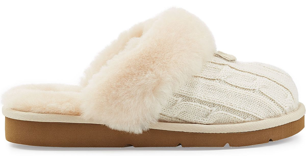 9bed2276a UGG Cozy Knit Slippers With Wool And Sheepskin - White in Natural - Lyst