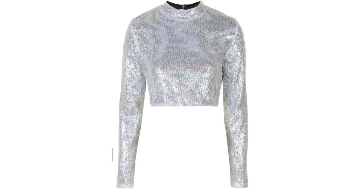a31b590f4e99da TOPSHOP Silver Sequin Long Sleeve Crop Top By Jaded London in Metallic -  Lyst