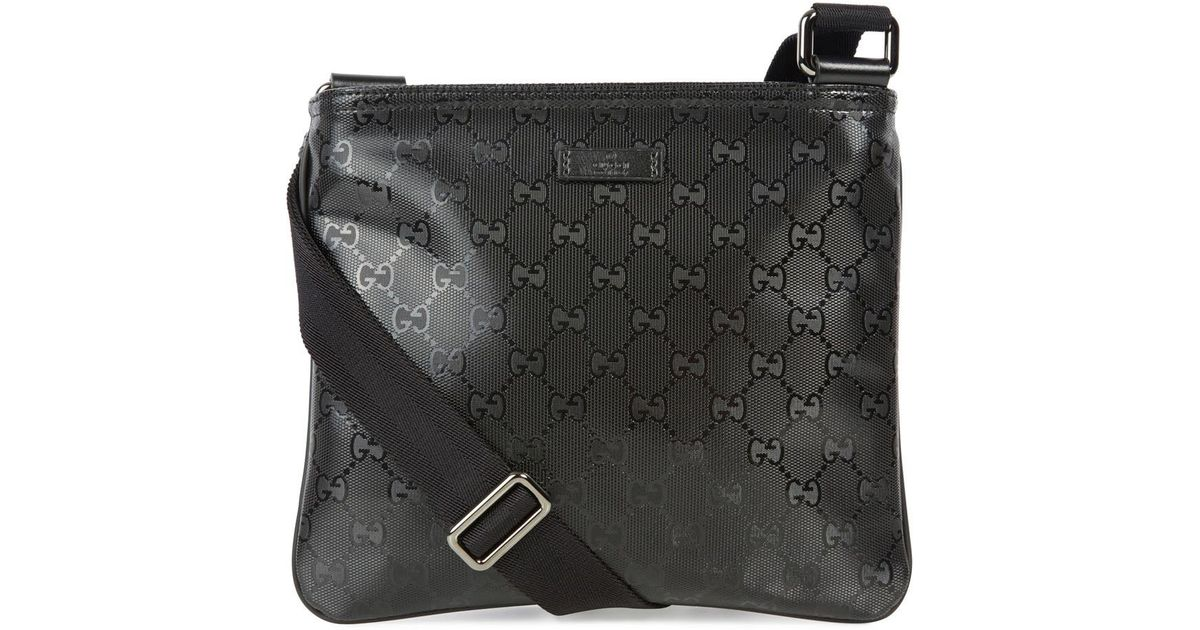 55d9584f6 Gucci Black Monogrammed Coated Canvas Messenger Bag in Black for Men - Lyst