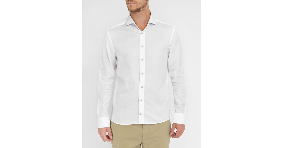 Hackett white textured poplin cutaway collar slim fit for White cutaway collar shirt