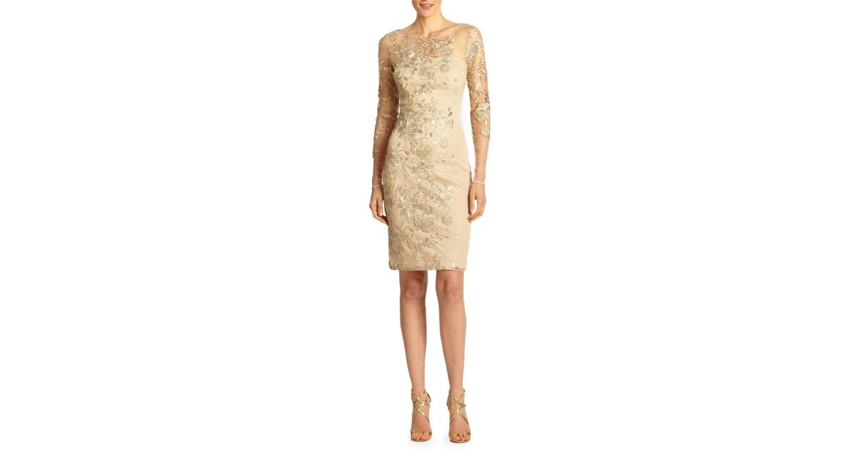 fab3664dac0 Lyst - David Meister Embroidered Illusion Cocktail Dress in Metallic