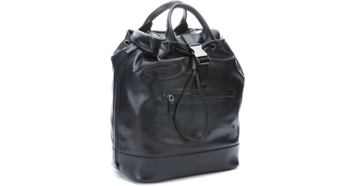 398b4a6e7ac9 ... release date lyst prada black leather expandable convertible backpack  tote in black for men 6a927 9f81d ...