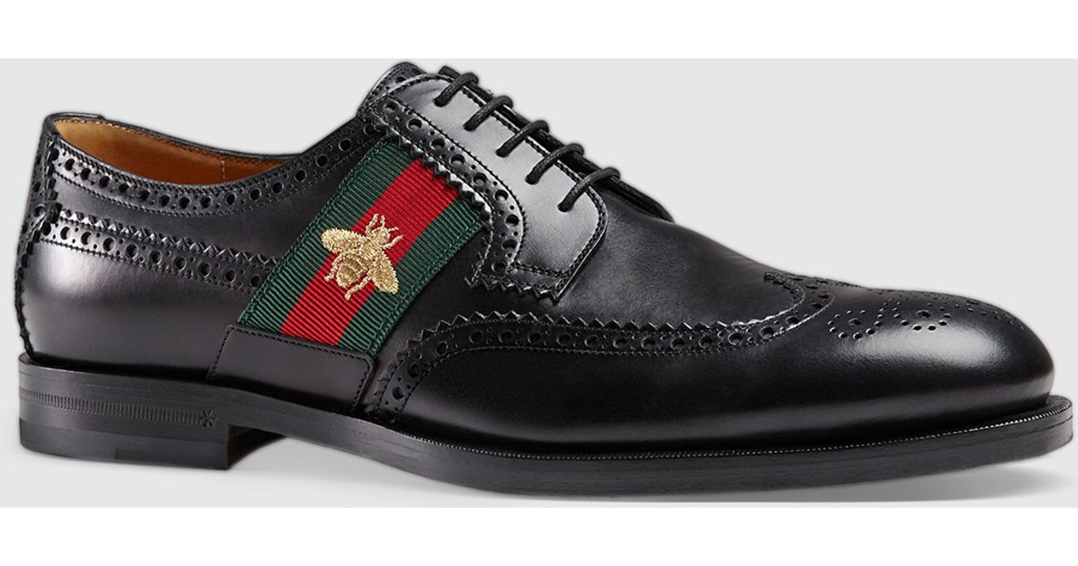 015344e51 Gucci Leather Lace-up With Bee Web in Black for Men - Lyst