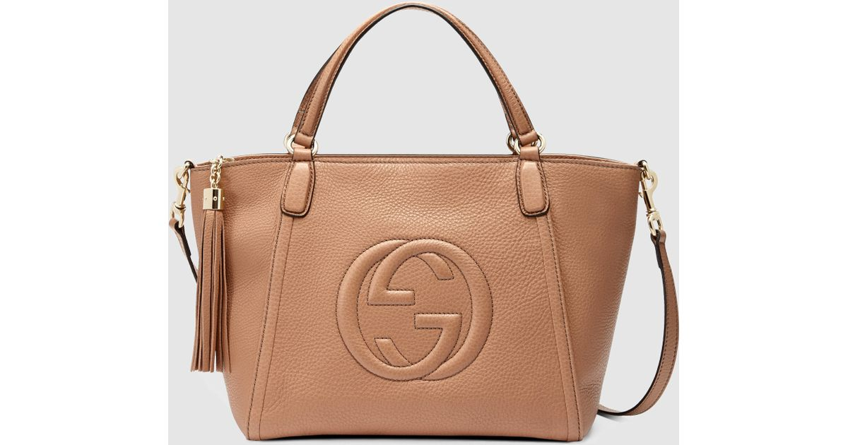 fbe0deca1da1 Lyst - Gucci Soho Leather Top Handle Bag in Natural