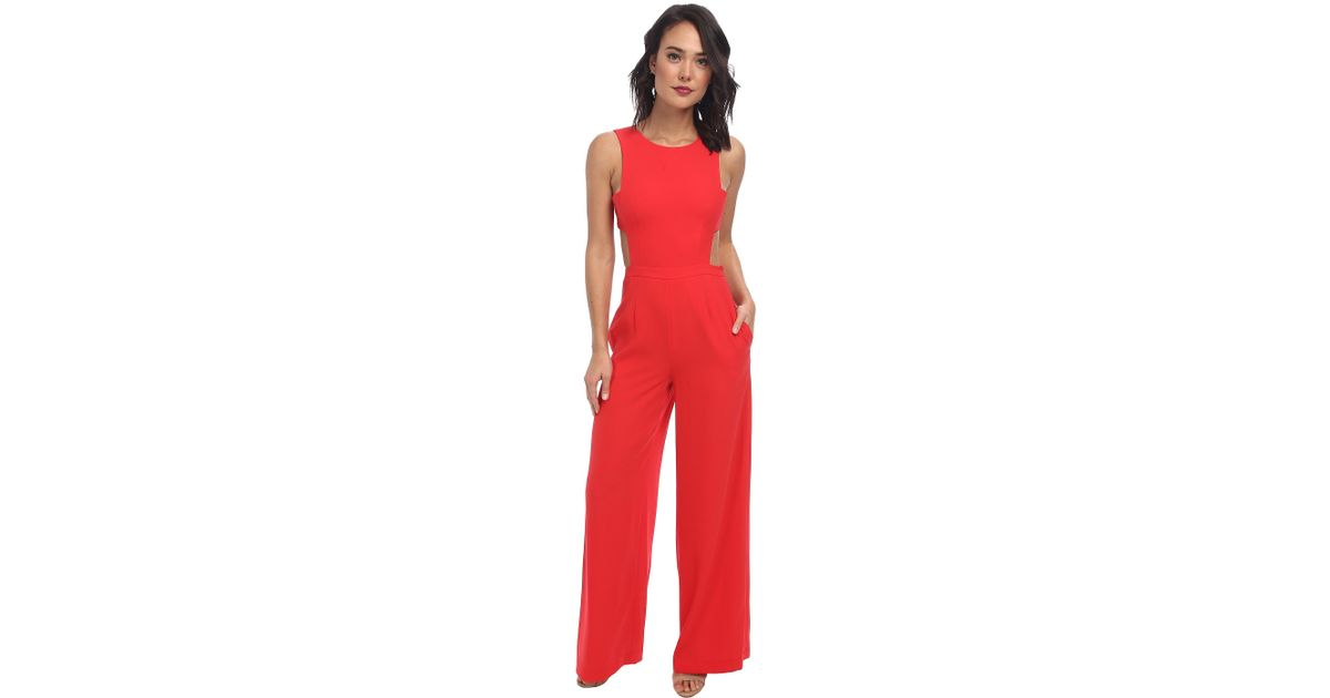 30228ee9c573 Lyst - BCBGMAXAZRIA Rossana Cutout Back Jumpsuit in Red