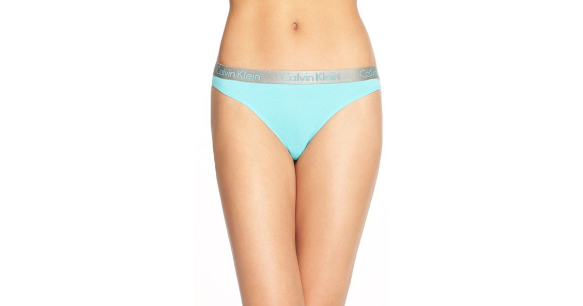 6c0547aedd Lyst - Calvin Klein  radiant  Cotton Thong in Blue