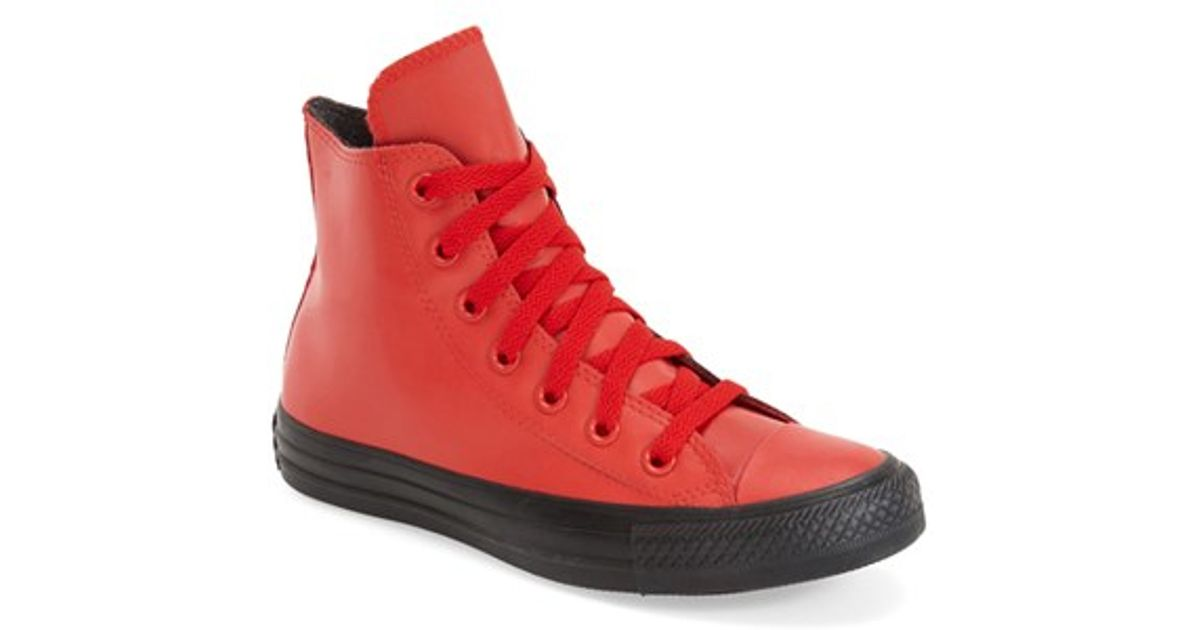 f4902f11d674 Lyst - Converse Chuck Taylor All Star Rubber High Top Sneaker in Red
