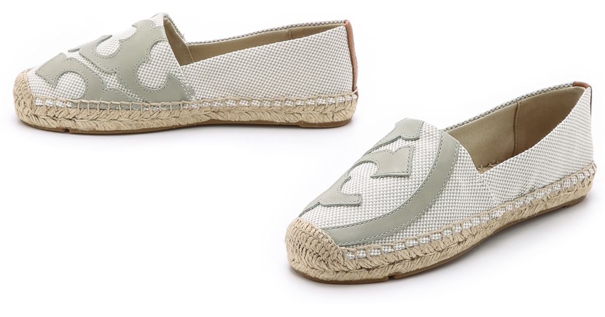 696c0d55bbf ... cheap lyst tory burch lonnie flat espadrilles natural tory navy royal  tan in gray d7560 50007