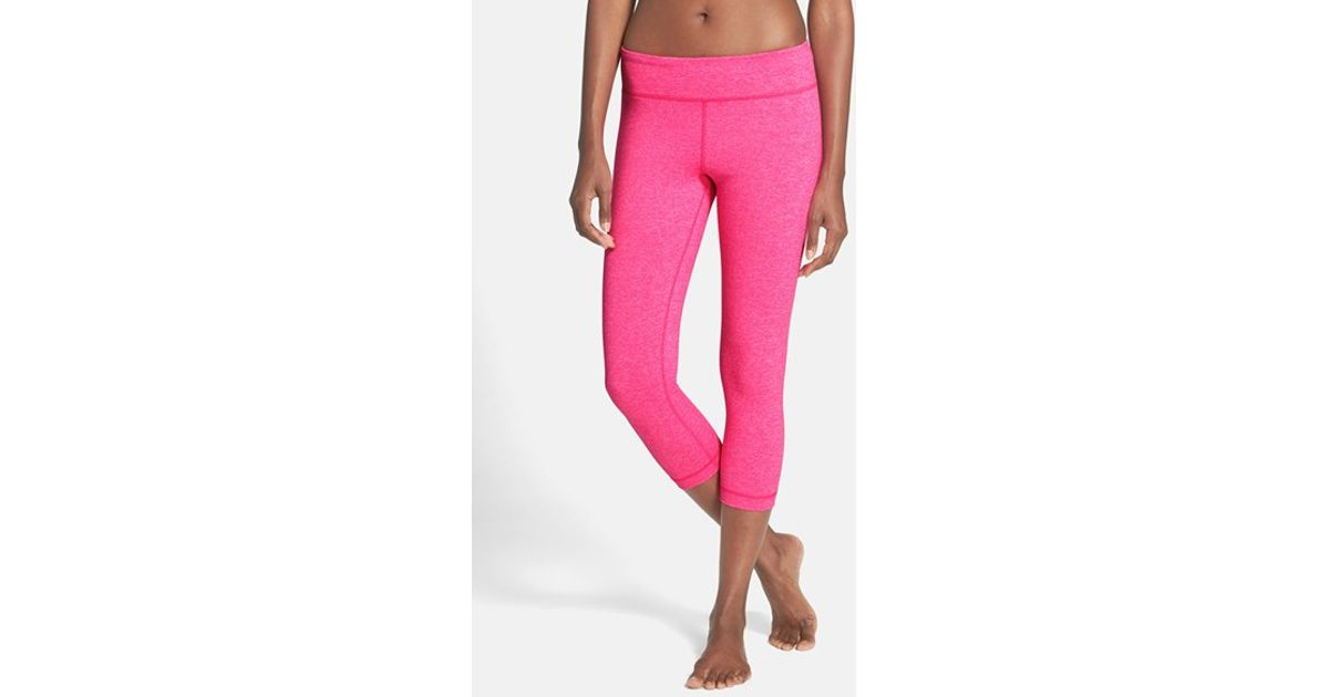 15c8e9f0 Under Armour 'studiolux' Tight Capris in Pink - Lyst