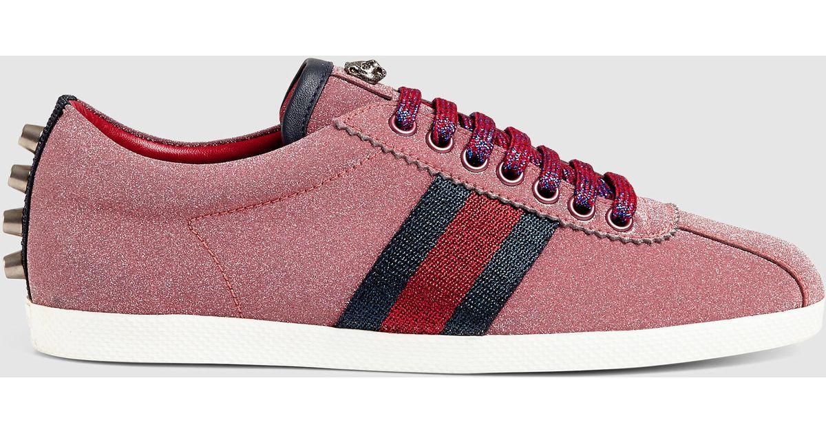 813c1f7678f5 Lyst - Gucci Glitter Web Sneaker in Red