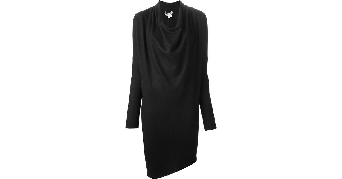 59f88f54e51 Lyst - Helmut Lang Asymmetric Sweater Dress in Black