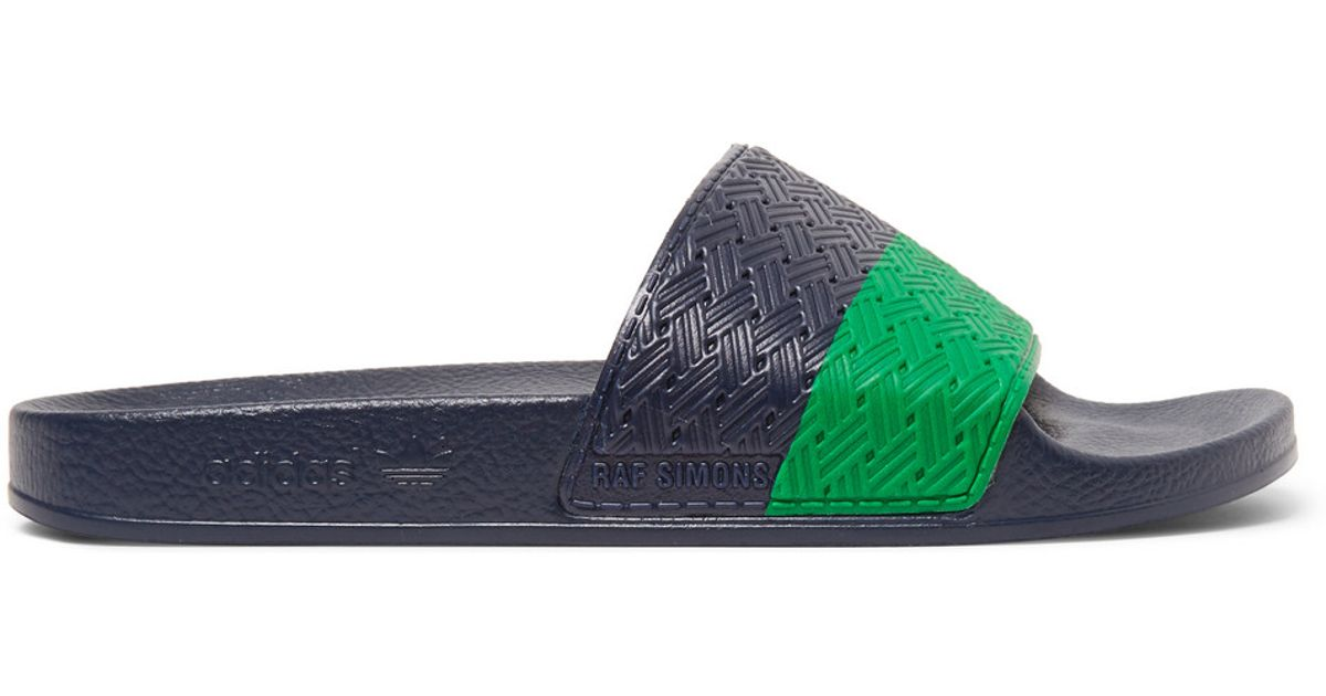 Lyst - Raf Simons + Adidas Adilette Striped Rubber Pool Slides in Blue for  Men 2b70d117a