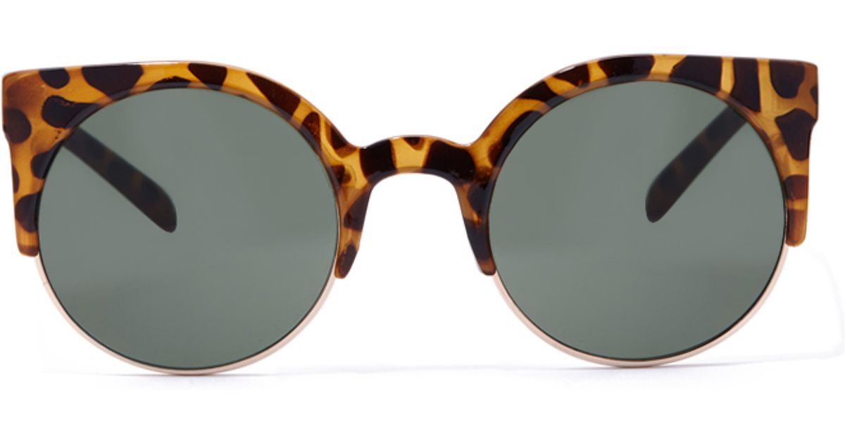 Leopard Sunglasses Forever 21  forever 21 leopard print round sunglasses in brown lyst