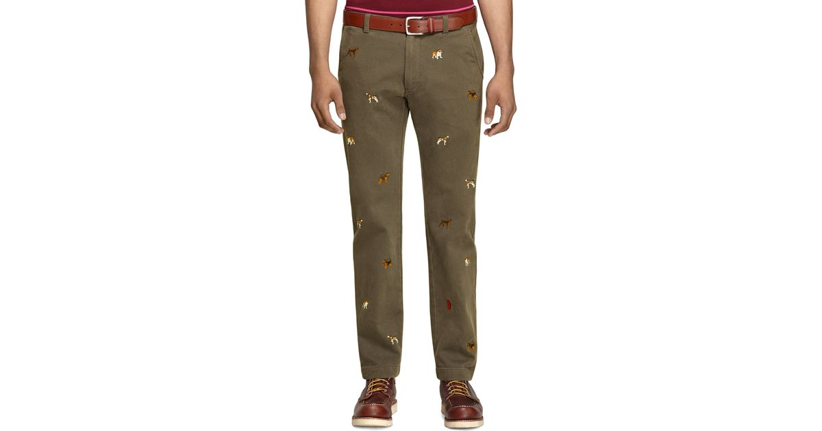 Lyst - Brooks Brothers Dog Embroidered Chinos in Green for Men d92bc0a40