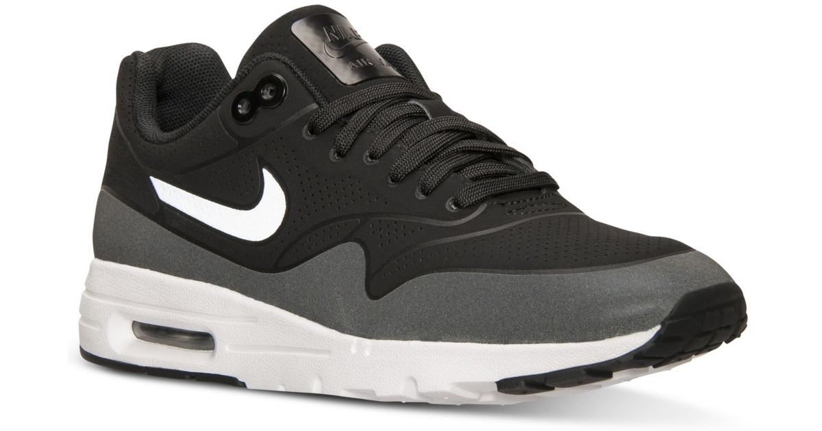 timeless design 7a7a2 c349a Nike Women s Air Max 1 Ultra Moire Running Sneakers From Finish Line in  Black - Lyst