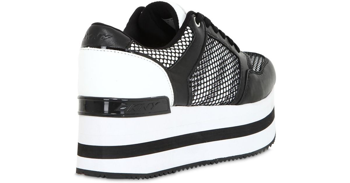 ef4eaad1af2 Lyst - DKNY 50Mm Jill Net   Leather Wedge Sneakers in Black
