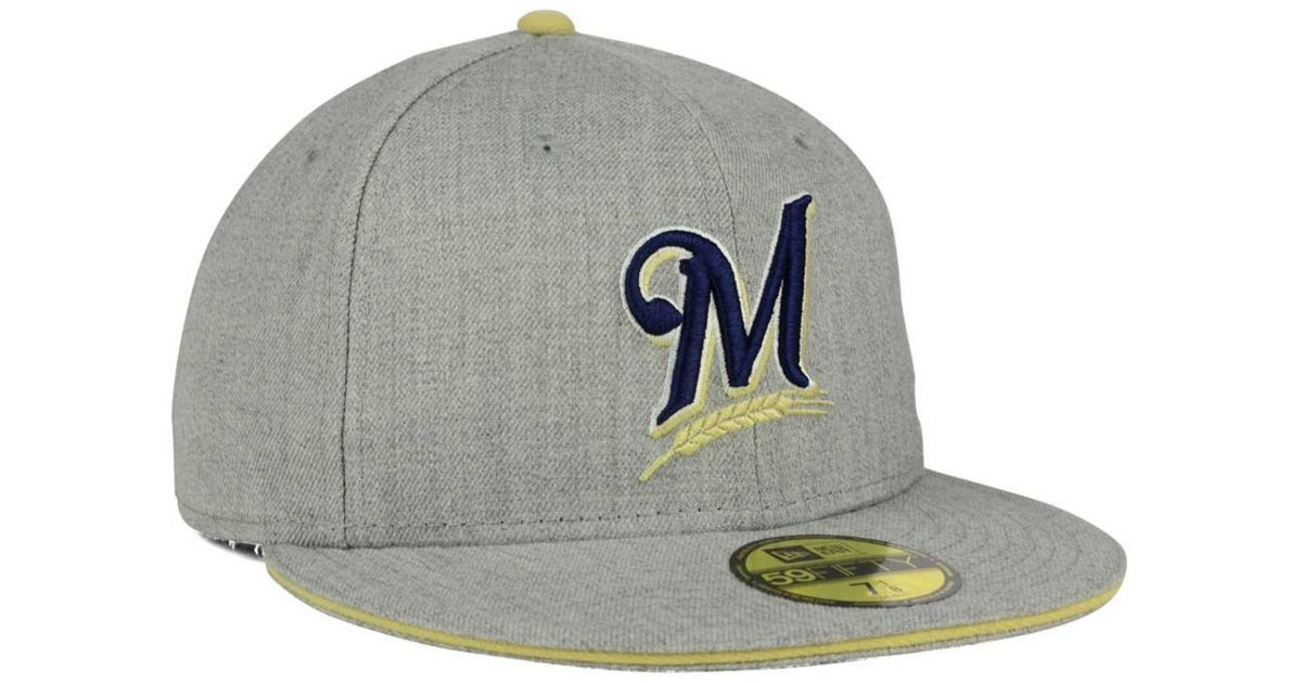 outlet store 6385f 2b838 Lyst - Ktz Milwaukee Brewers Heather Action 59fifty Cap in Gray for Men