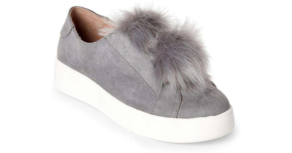 0947f6bc6bf Lyst - Steve Madden Grey Furbie Pom-Pom Platform Sneakers in Gray