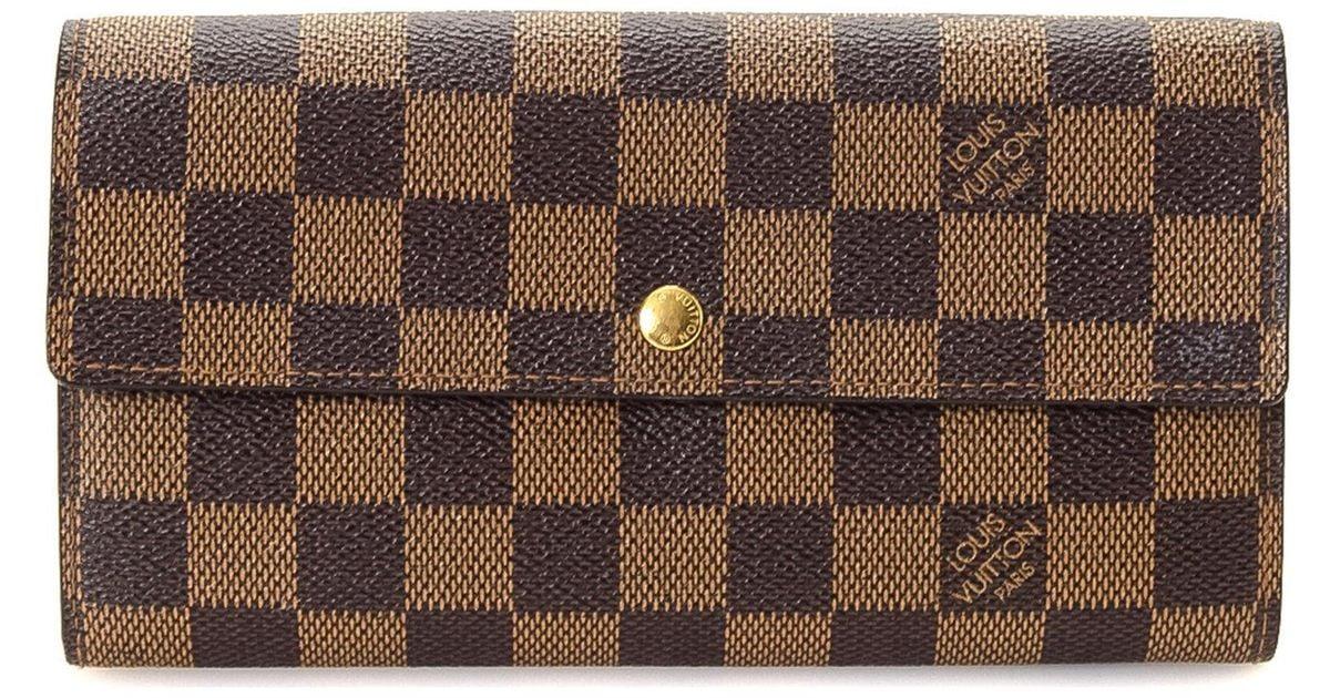9162ff703ab6 Lyst - Louis Vuitton Damier Ebene Wallet - Vintage