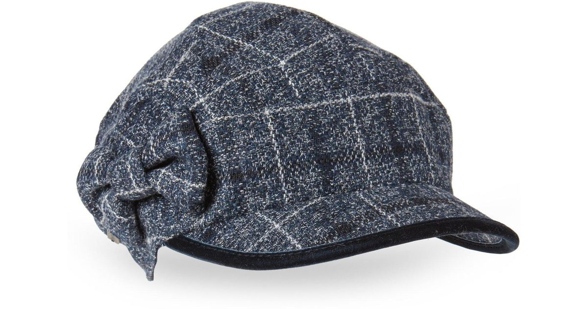967220aa87f Lyst - Betmar Plaid Bow Conductor Hat in Blue