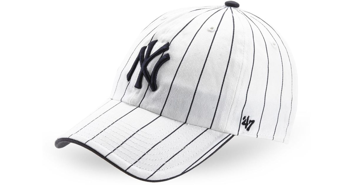 Lyst - 47 Brand Pinstripe Ny Yankees Baseball Cap in White 924fcde2c