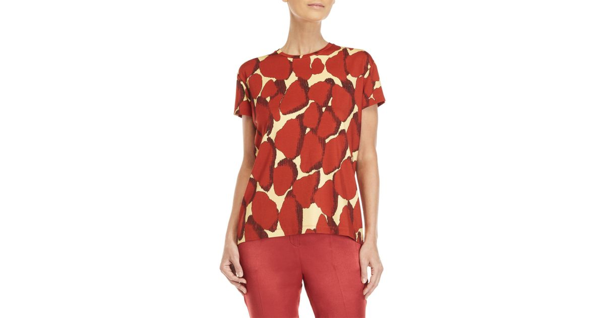 57f8f70bd42 Lyst - By Malene Birger Uneks Printed Tee in Red