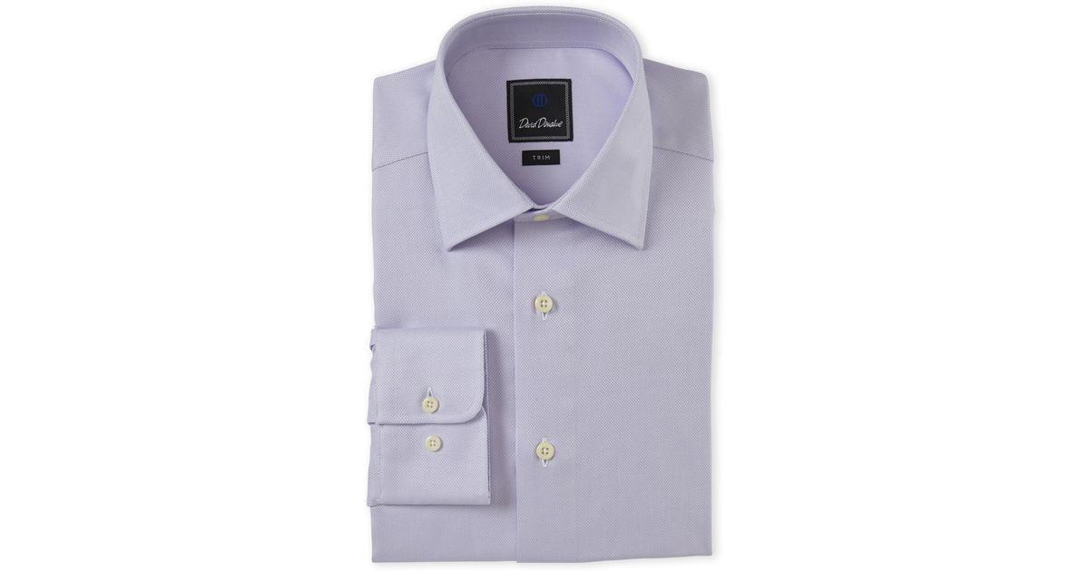 David donahue lilac trim fit dress shirt in purple for men for Century 21 dress shirts