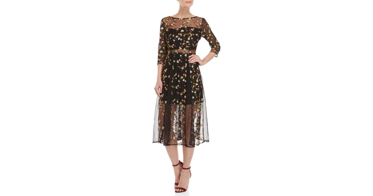 c5e94245bf Lucy Paris Floral Embroidered Mesh Midi Dress in Black - Lyst
