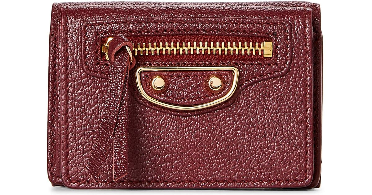a612ea42d84 Balenciaga Bordeaux Metallic Edge Mini Wallet in Purple - Lyst