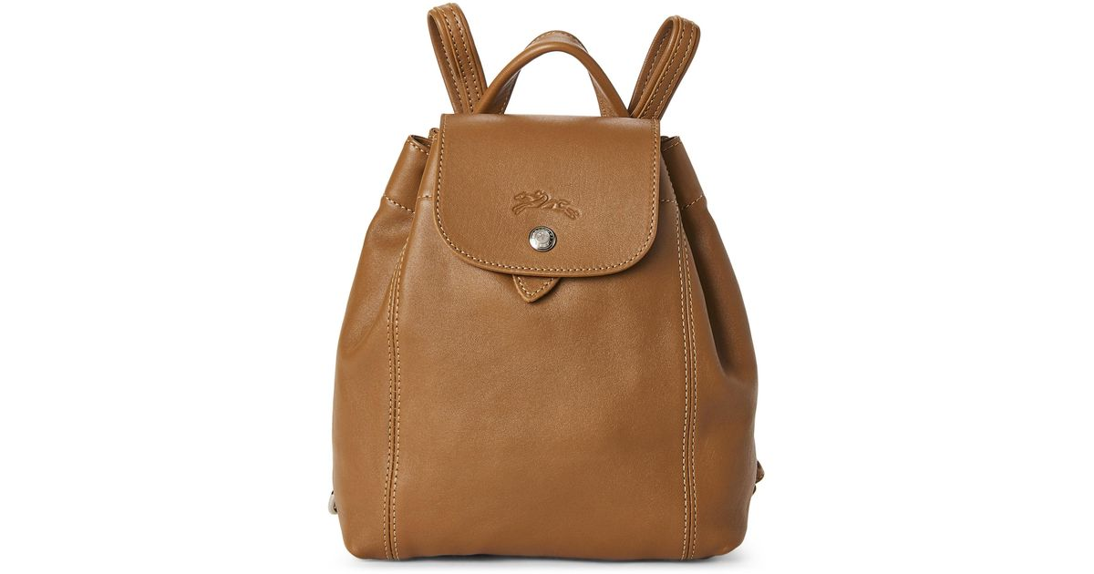 b3b9ac7d9db Longchamp Natural Le Pliage Cuir Backpack in Natural - Lyst