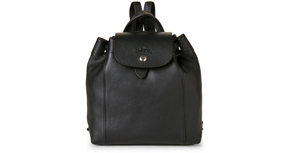 Lyst - Longchamp Black Le Pliage Cuir Backpack in Black f1f1e3b34d294