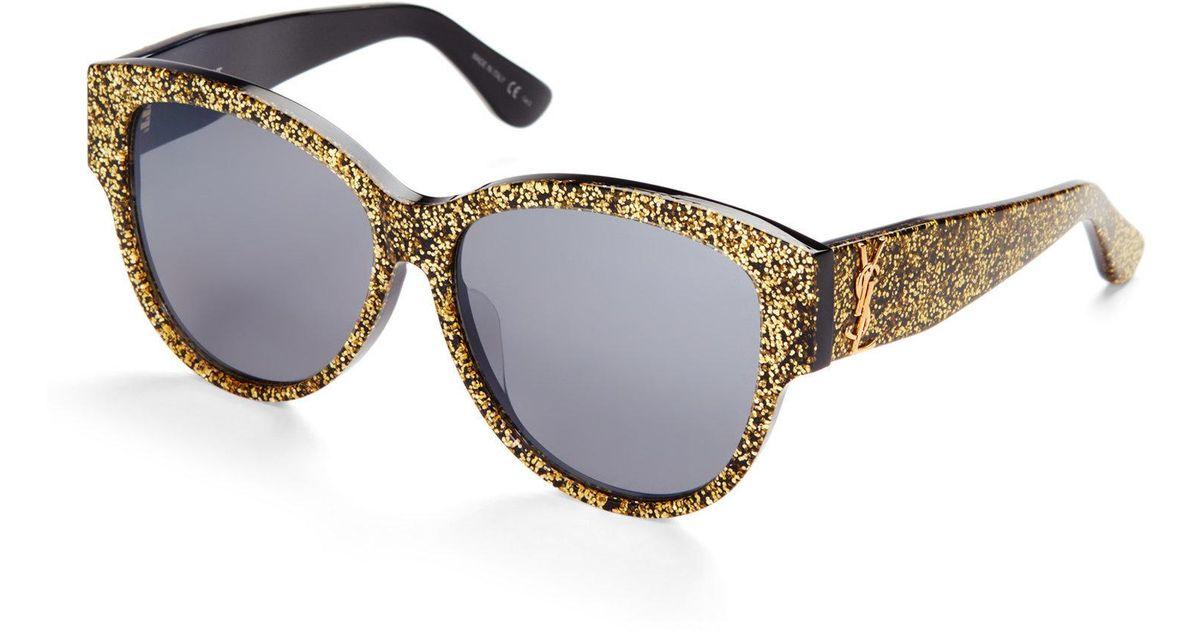 0bf30ef34aa Lyst - Saint Laurent Sl M3 F Gold Glitter Xl Cat Eye Sunglasses in Metallic