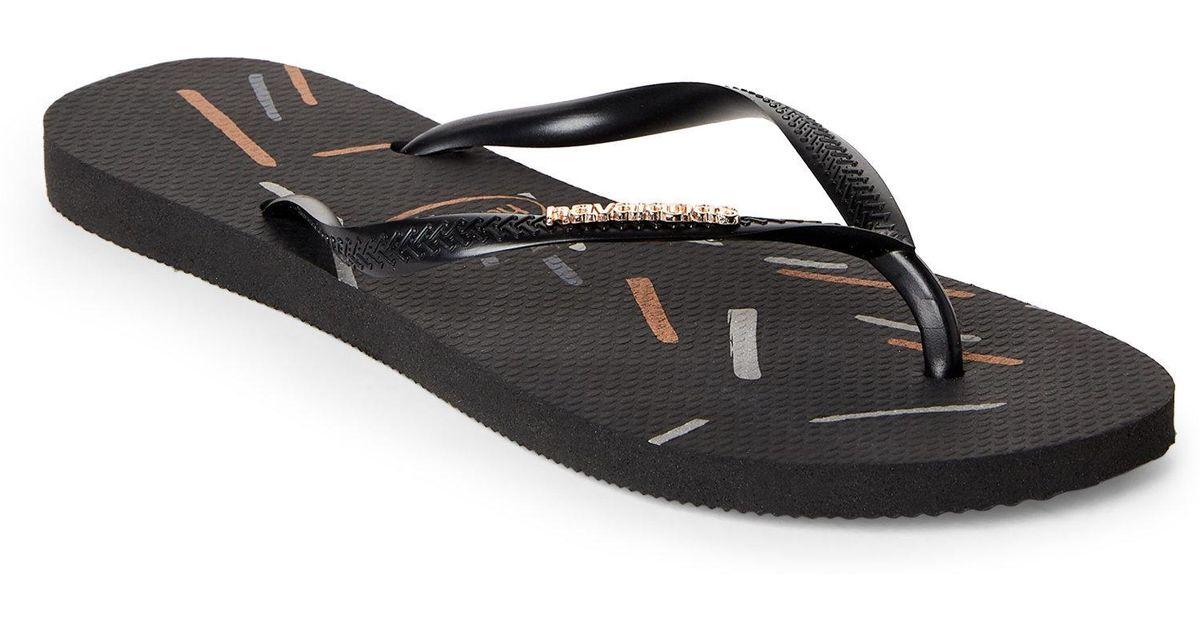 28eacf735 Lyst - Havaianas Black   Rose Gold Slim Metallic Fine Line Flip Flops in  Black